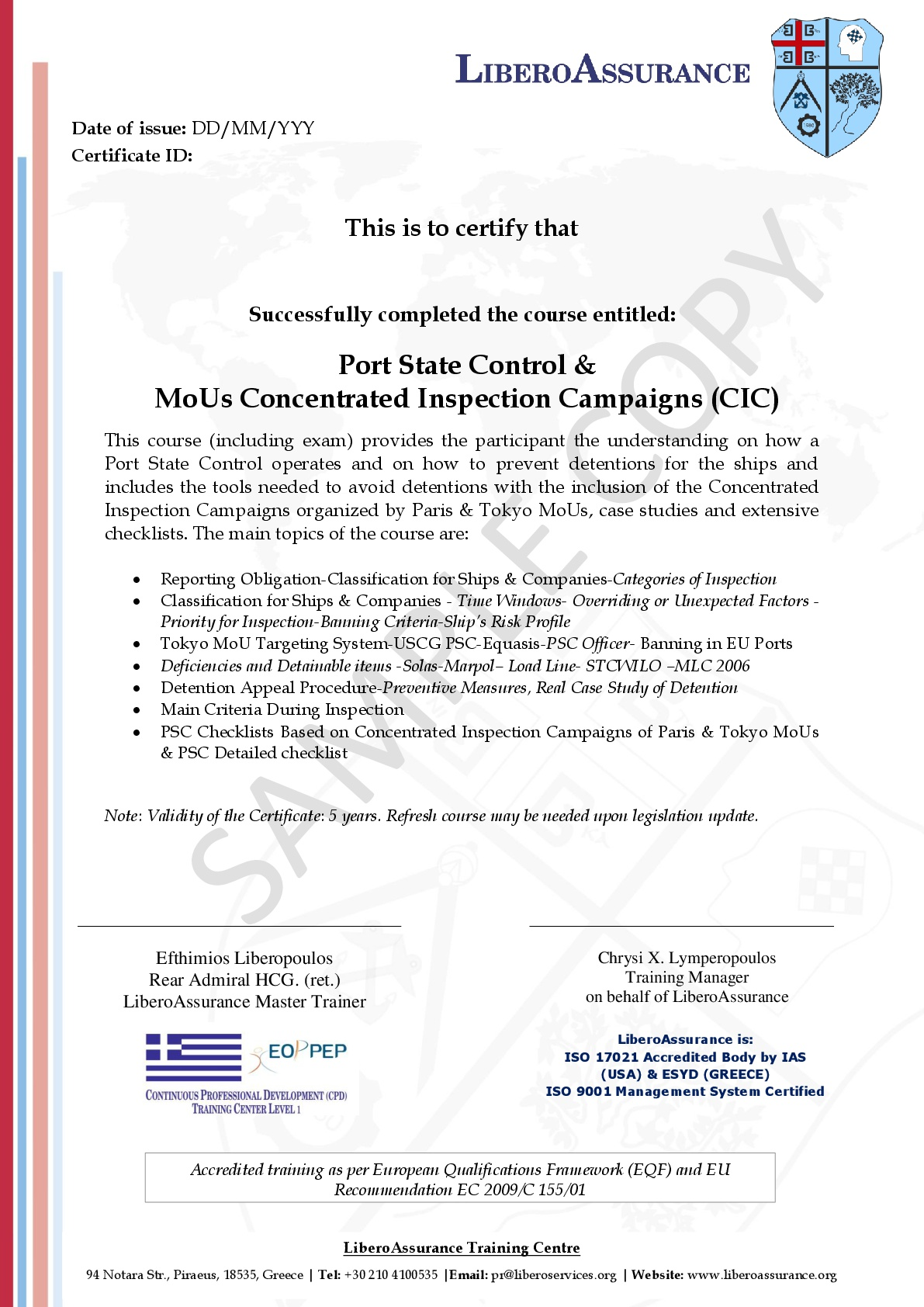 Psc Including Mous Concentrated Inspection Campaigns Libero Services