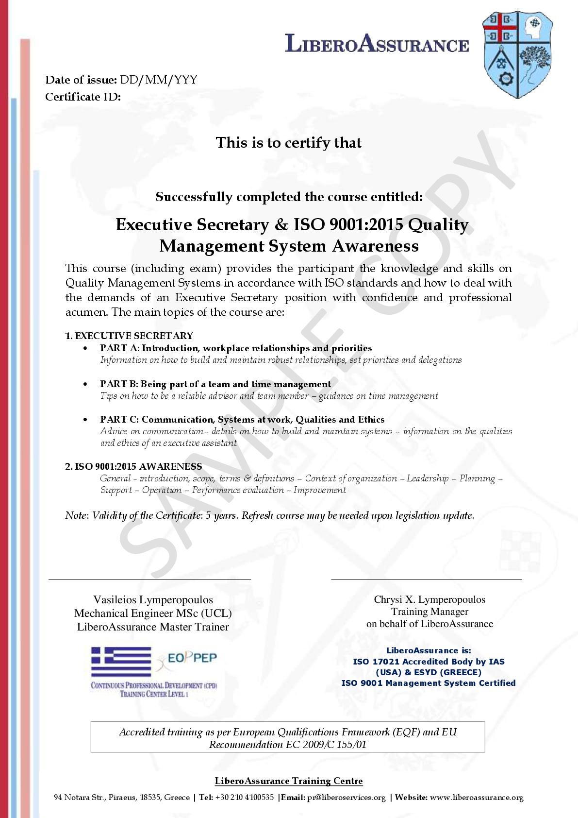 Executive Secretary & ISO 9001:2015 - Libero Services