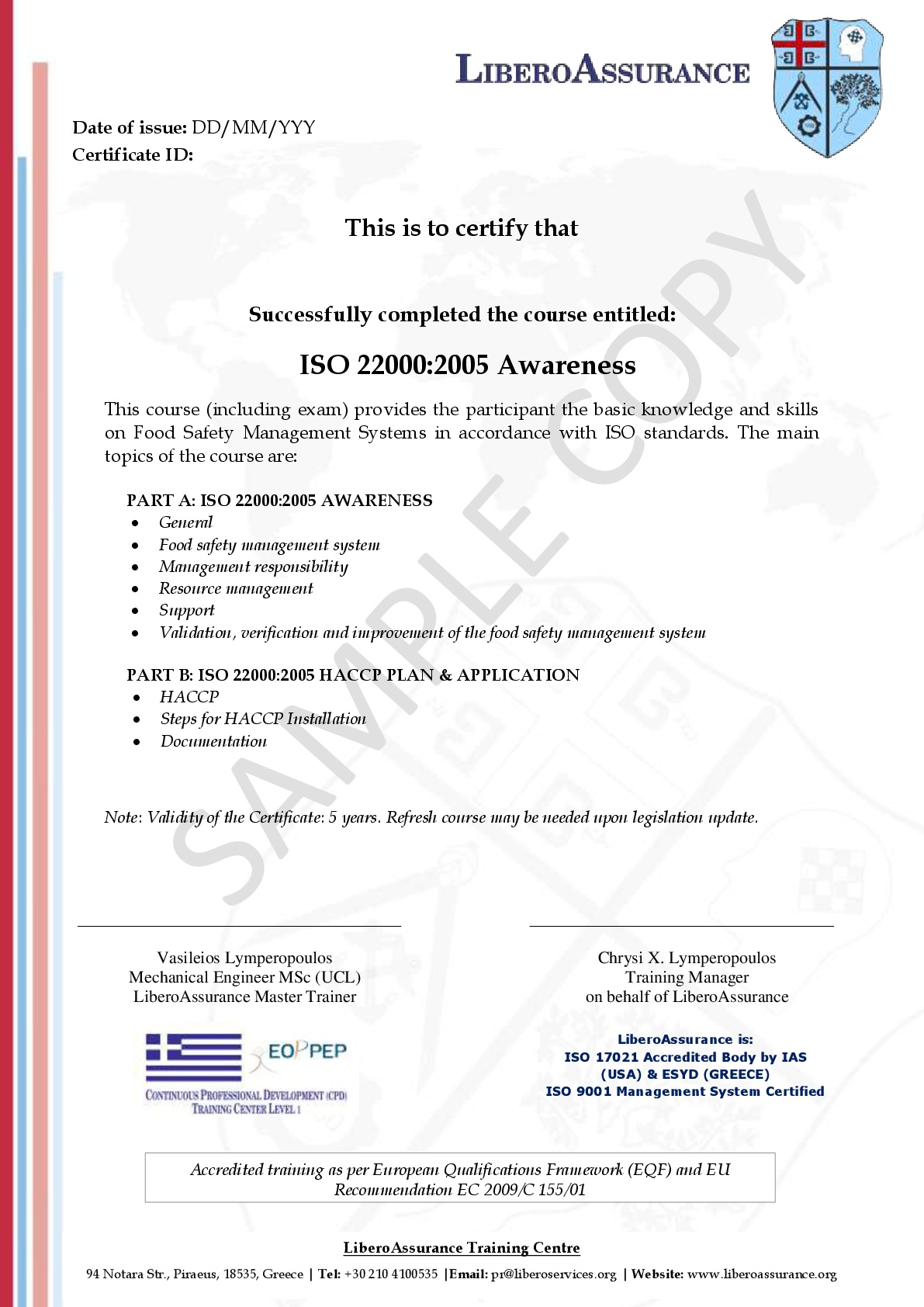 ISO 22000:2005 FSMS Awareness - Libero Services